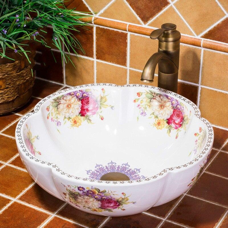 A1 Rose fleur comptoir en céramique lavabo salle de bains éviers peinture à la main lavabo évier wx11161116
