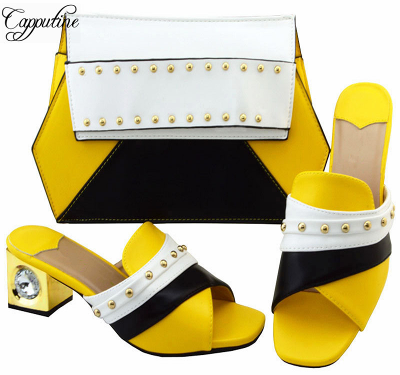 Capputine Italian Style Shoes And Purse Set African Summer Middle Heels Sandals Shoes And Bag To Match Party Size 38-43  YM002 capputine new summer sandals woman shoes 2017 fashion african casual sandals for ladies free shipping size 37 43 abs1115