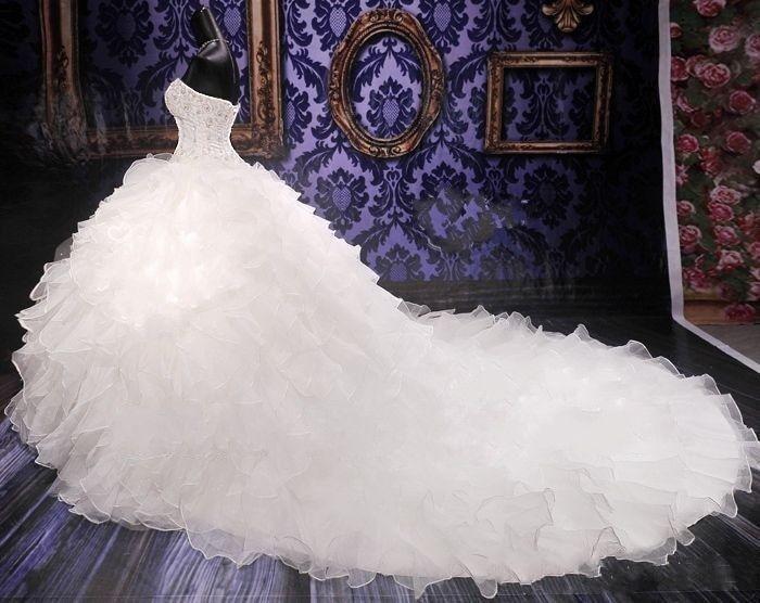 2018 luxus Perlen Stickerei Brautkleid Prinzessin Kleid Schatz ...