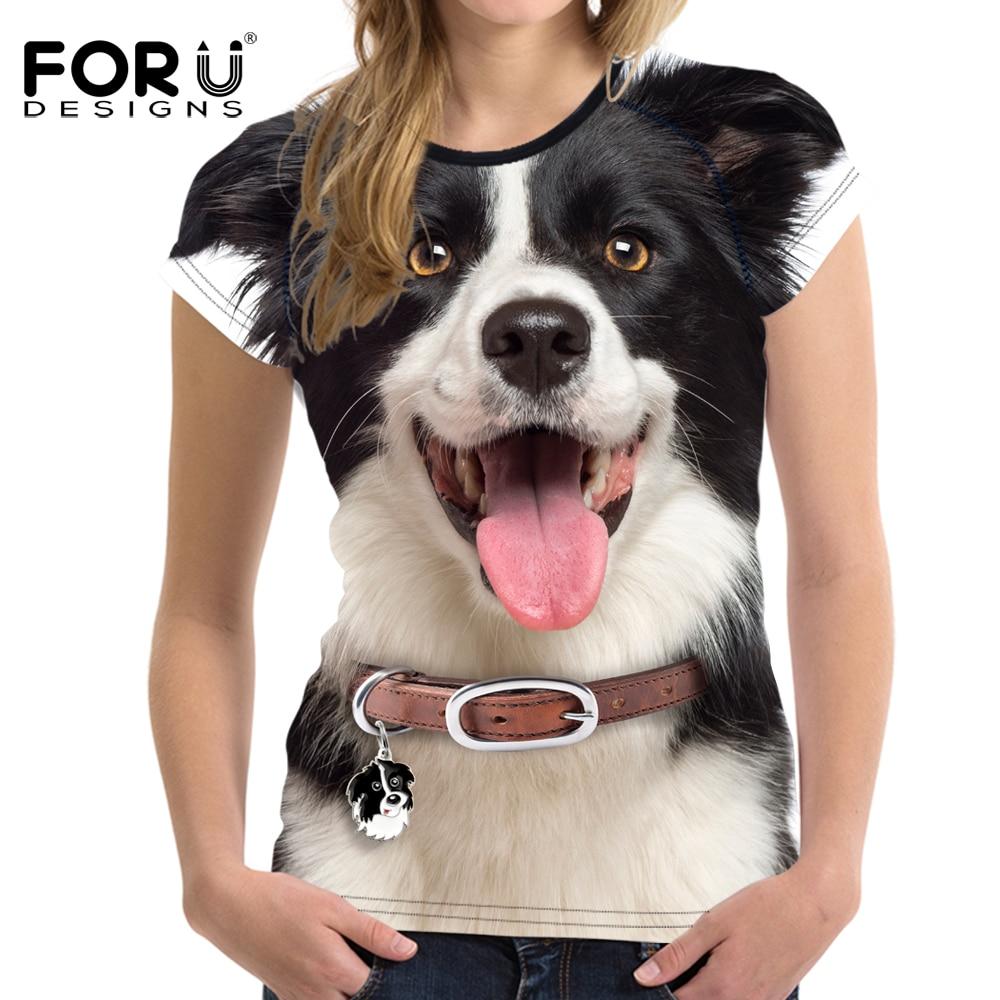FORUDESIGNS 2018 Dames Zomer Basic T-shirt Crop Tops Wit 3D Herder Vrouw Casual Shirts Elastische slanke vrouwelijke shirts Tees