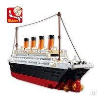 1021 sztuk b0577 sluban building blocks zabawki statek wycieczkowy legeod rms titanic statku łodzi model 3d prezent zabawki edukacyjne brinquedos