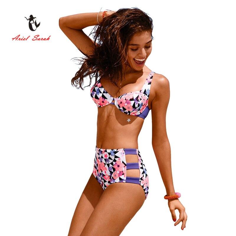Ariel Sarah Brand 2017 Hot High Waist Bikini Sexy Swimwear Women Flora Print Bikini Set Bathing Suit Push Up Swimsuit Q011 ariel sarah solid bathing suit women swimsuit deep v push up bikini set sexy bandage brazilian bikini swimwear monokini q339