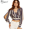 TANGNEST Women Summer Chiffon Shirt 2017 Fashion Casual Style V-Neck Striped Cute Young Ladies Lovely Shirts WCX1231