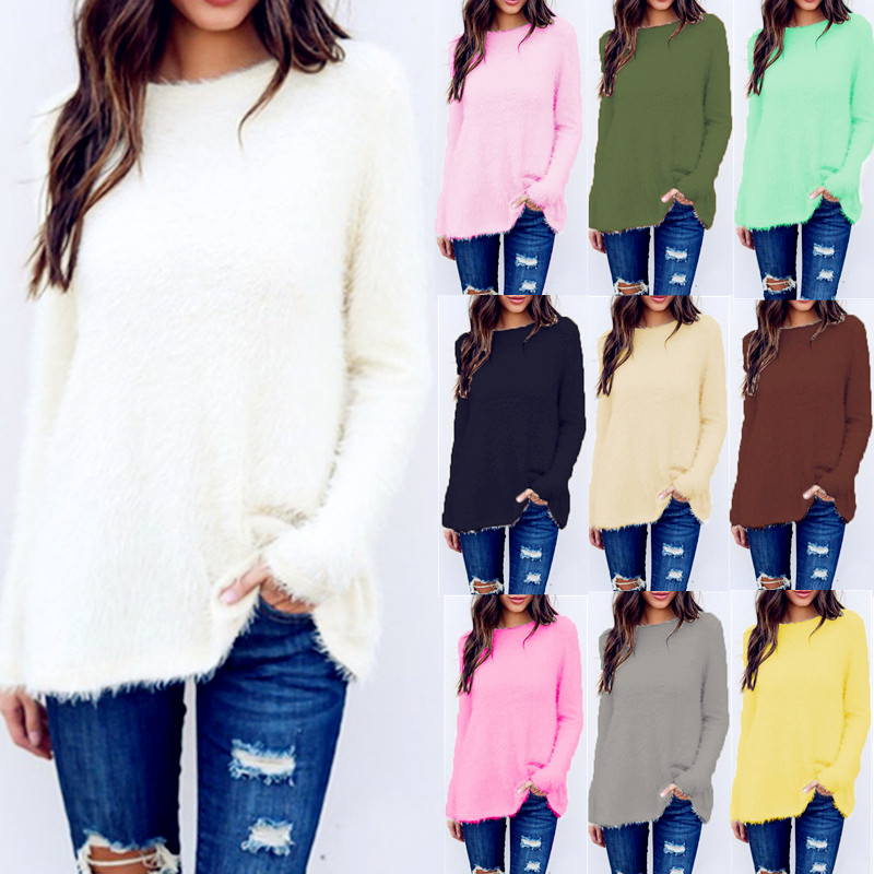 2020 Winter Knitted Pullover Cotton Sweater Autumn Women Tops Plus Size Casual Long Sleeve Pull Female Solid Sweaters Pullovers