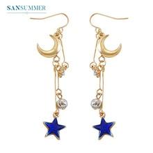 Sansummer 2019 New Hot Fashion Long Blue Star Moon Boho Shiny Tassel Gold Girl Earrings Woman Elegant Jewelry 262