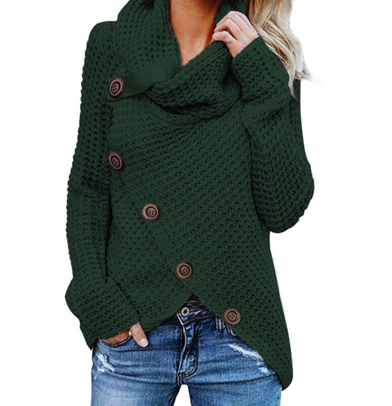 New knit femmes manteaux col haut pull solide couleur dames chandail multicolore plus la taille chandail à manches longues printemps automne 2019
