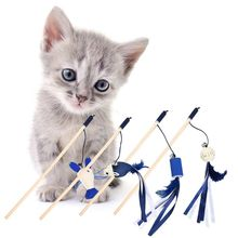 Cute Mouse Shrimp Feather Dog Cat Tease Toy With Bell Wooden Stick for Cats Products