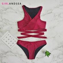 GIRLANDSEA New 2019 Low-waisted Bikini Set Solid Swimsuit