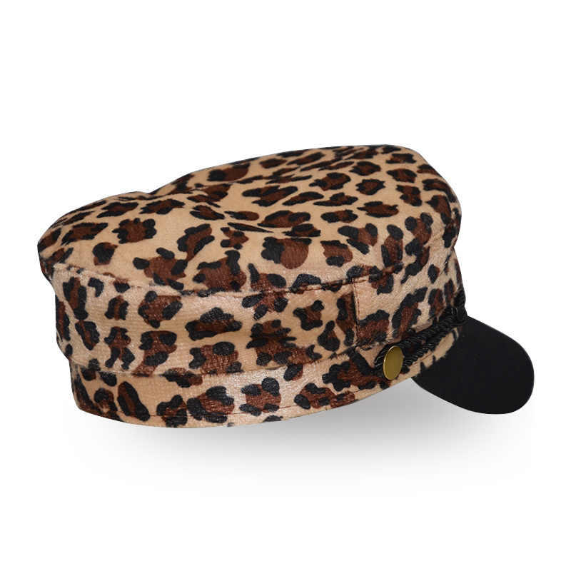 294e201bf4431 ... Vintage Woolen Leopard Print Casual Hat Women Rope Flat Top Winter Cap  Female Casual Baseball Hats ...