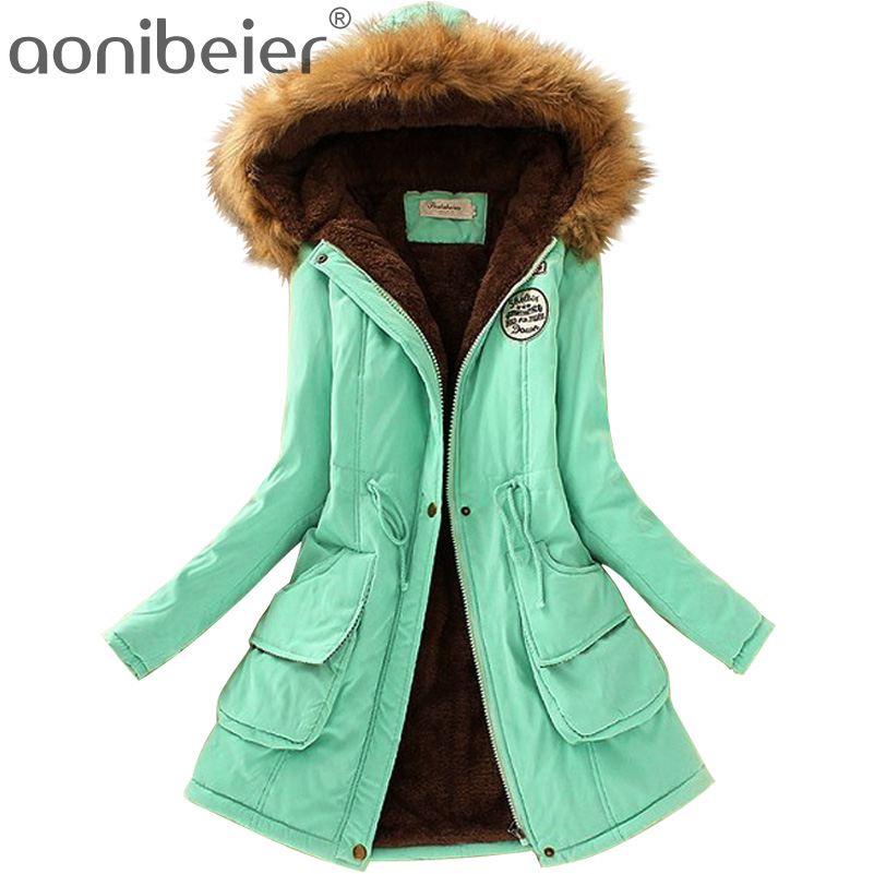 Aonibeier Plus Size Fashion Women Parka Autumn Winter Warm Jackets Women Fur Collar Coats Long Parkas Hoodies Office Lady Cotton