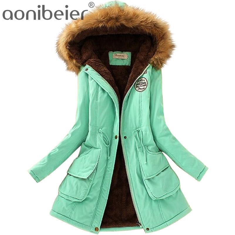 Aonibeier Plus Size Fashion Women   Parka   Autumn Winter Warm Jackets Women Fur Collar Coats Long   Parkas   Hoodies Office Lady Cotton