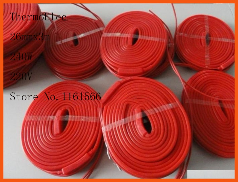 26mmx3m 240W 220V High quality Electric heating Silicone Heating Pipeline tracing belt Silicone Rubber Pipe Heater waterproof