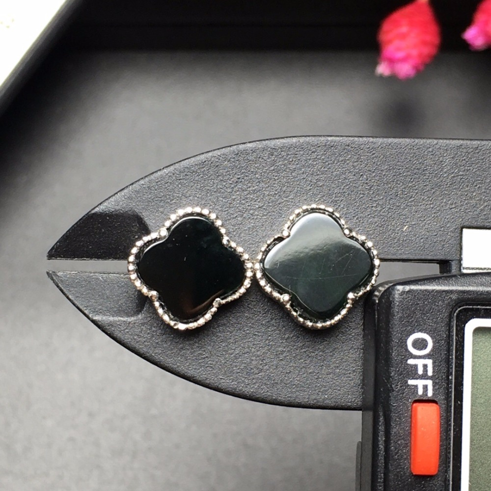 Fine Jewelry Luxury Clover 18K White Gold AU750 100% Natural Black Jade Jadeite Gemstones Myanmer Origin Stud Earrings for Women цена