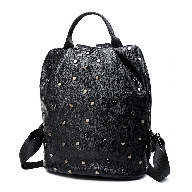ФОТО 2017 Black Leather Backpack Women Studded Backpack School Bags For Teenage Girls Waterproof Backpack Female Fashion Back Packs