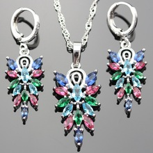 Lan Hot-Selling 925 Silver Jewelry Sets AAA Zircon Multicolor Stone  Necklace Pendant Earring For Wedding For Shipping