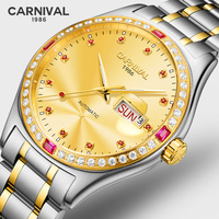 Luxury Business Watch Men CARNIVAL High end MIYOTA Automatic Watch Calendar Week Sapphire Waterproof Luminous Mechanical Watches