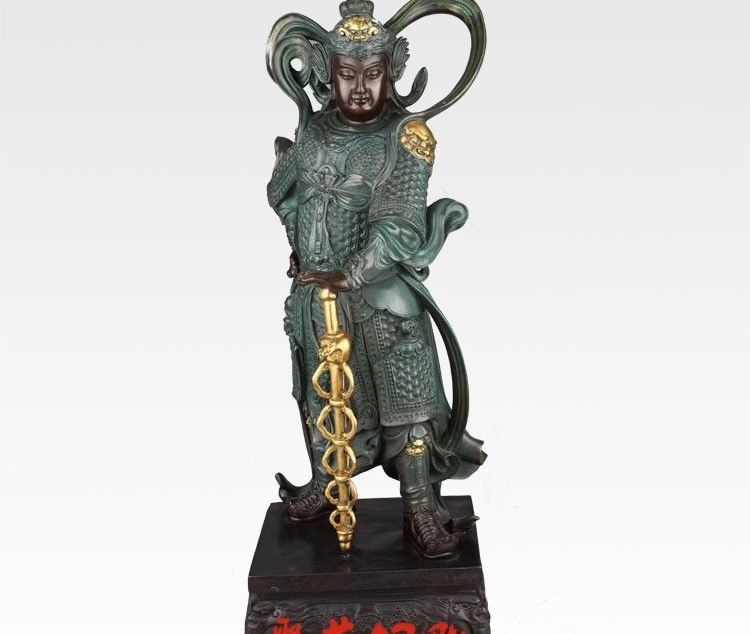 China Bronze Copper Temple Warrior Veda Weituo Skanda Bodhisattva Wei Tuo Statue