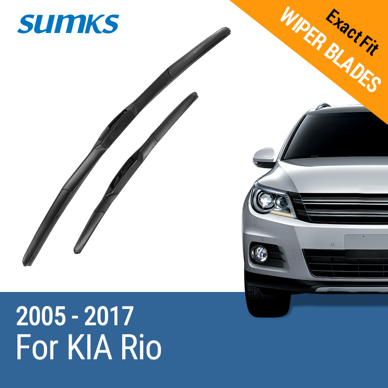 SUMKS Wiper Blades for KIA Rio 22& 16 /26& 16 Fit hook Arms 2005 to 2017