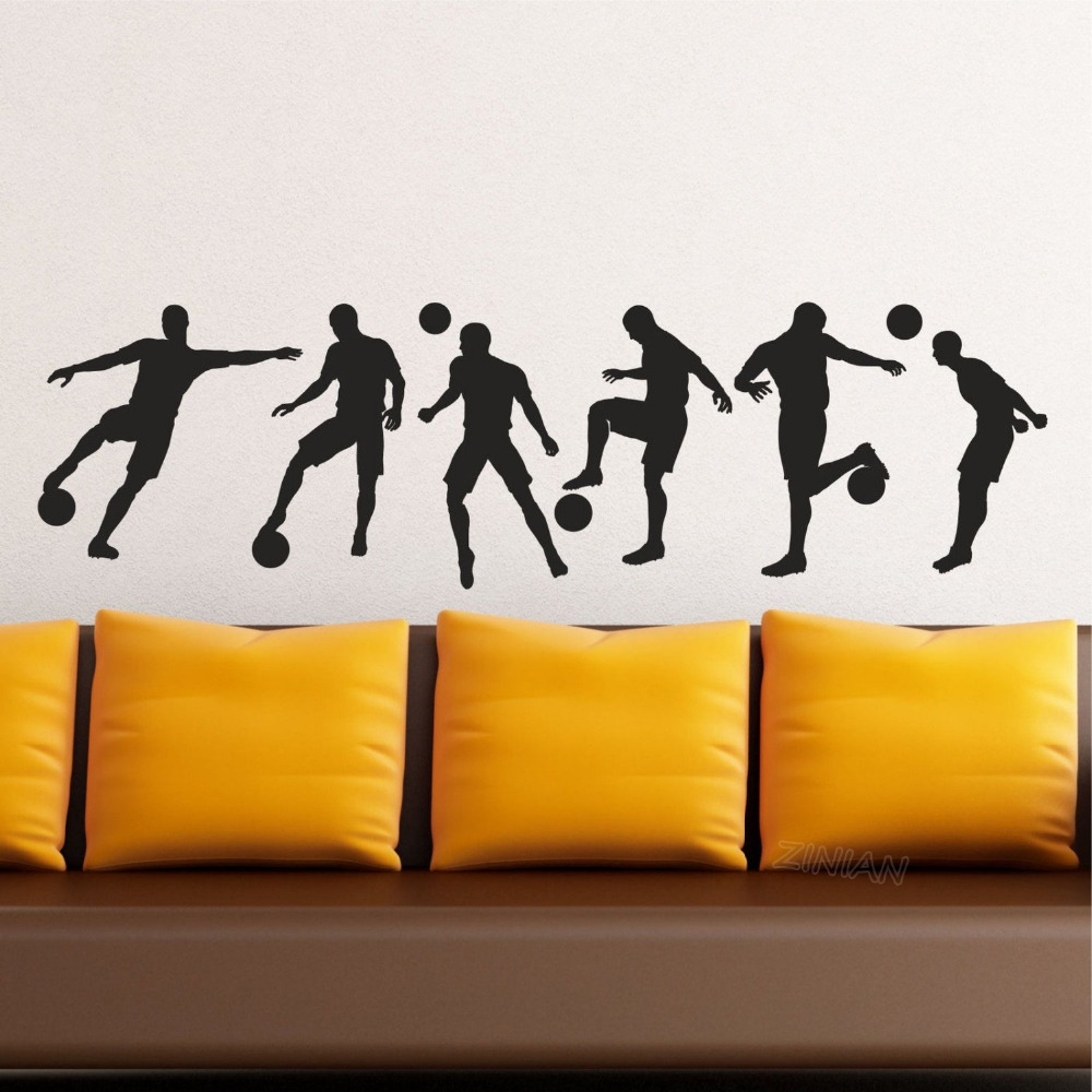Soccer Football Player Silhouette Set of 6 Vinyl Wall Art Mural Decal Stickers Home Decor Boys Bedroom Sport Poster Dorm Z631