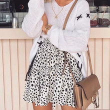 Леопардовый принт галстук сломанные цветы Печать Мода ламинирование украшения свободная талия юбка