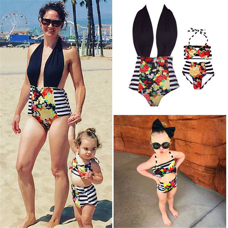 2017 Mother Daughter Swimsuit Clothes Family Look Matching Stripe Printed Swimwear Outfits Mommy And Me Kids Beach Bathing Suit red mommy and me stripe matching midi dress