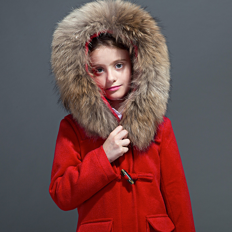 Big Gilrs and boys winter new luxury British raccoon fur collar cashmere wool long coat 5 colors 2017 new long fur coat parka winter jacket women corduroy big real raccoon fur collar warm natural fox fur liner