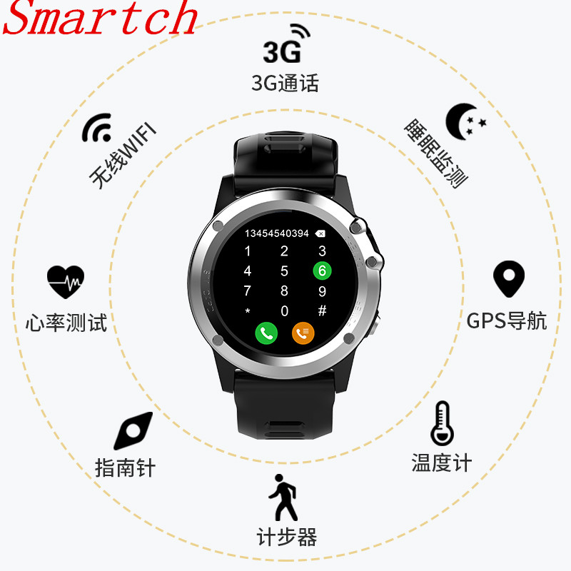 Smartch H1 smart Watch MTK6572 IP68 Waterproof 1.39inch 400*400 GPS Wifi 3G Heart Rate 4GB+512MB smartwatch For Android IOS Came все цены