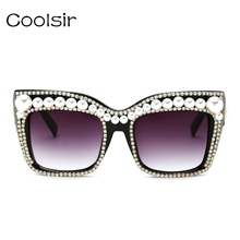 2017 Hot Sale Gorgeous Pearl Diamond Vintage Metal Frame Cat Eye Sunglasses Fashion Brand Designer Beautiful Ladies Essential