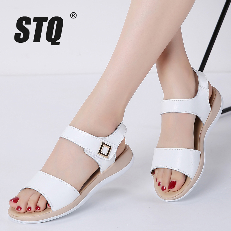STQ Platform Sandals Ankle-Strap Genuine-Leather Women Ladies White 87415