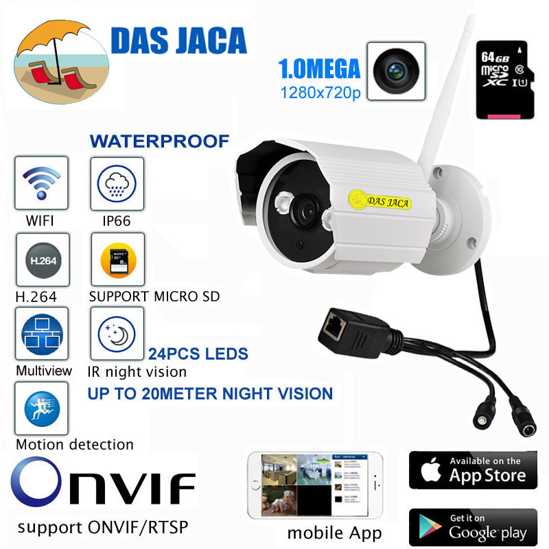 DasJaca 1mp 720P HD IP Camera Waterproof Wifi Camera Infrared Night Vision Outdoor Surveillance CCTV security Camera hd SD 64GB new waterproof ip camera 720p cctv security dome camera video capture surveillance hd onvif cctv infrared ir camera outdoor