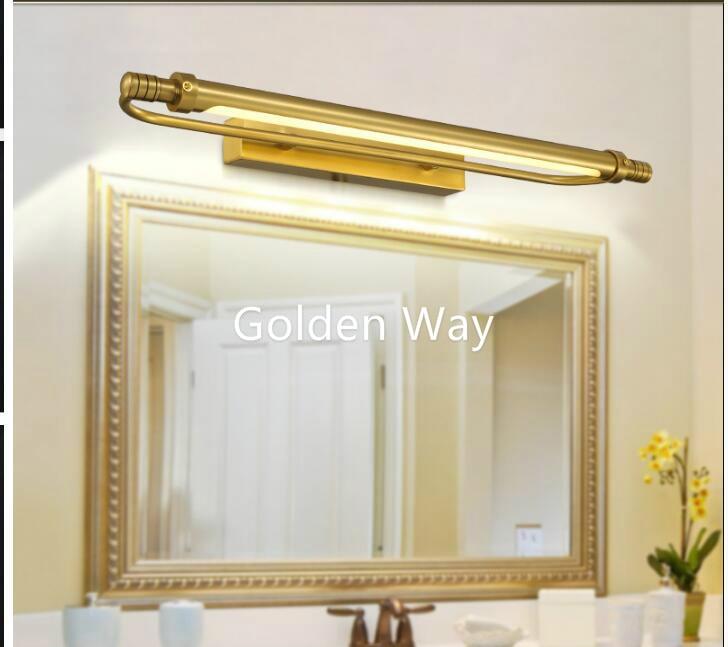 Waterproof Retro Bronze 54cm/66cm Bathroom Mirror Lamp Cabinet Vanity Mirror Lights 100% Brass Wall Lamp LED Light Wall Lamp modern minimalist waterproof antifog aluminum acryl long led mirror light for bathroom cabinet aisle wall lamp 35 48 61cm 1134