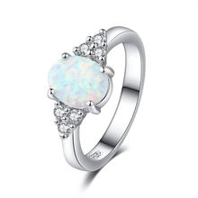 New Fashion Jewelry Ring Opal Ring Round Opal White Stone Hand Jewelry Engagement Rings for women Rose gold color Wedding rings(China)