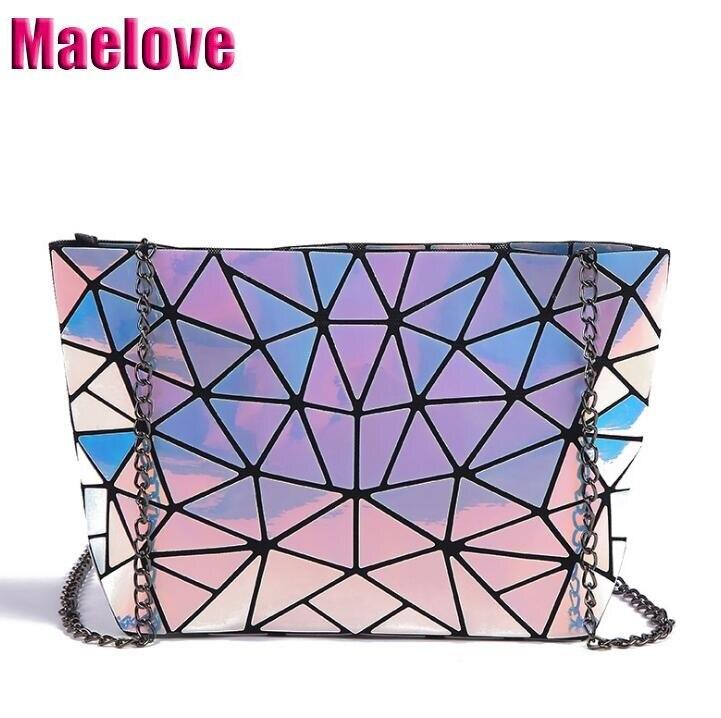 O Transporte da gota QUENTE saco Holograma mulheres Geométrica cadeia crossbody saco de prata do laser bolsa bolsas de luxo para as meninas