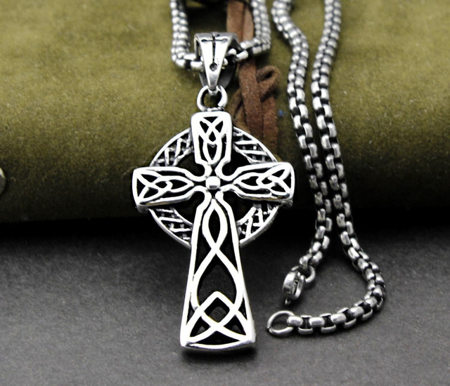Mens 316l stainless steel celtic cross knot christian irish mens 316l stainless steel celtic cross knot christian irish pendant necklace mozeypictures Choice Image