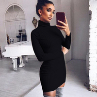 Women Dresses Autumn Winter Casual Turtleneck Long Knitted Sweater Dress Lady Slim Bodycon Dress Pull Femme