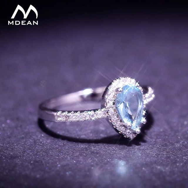 MDEAN White Gold-Color Rings for Women blue AAA Zircon Jewelry Engagement Classic Bijoux Bague accessories Size 6 7 8 Z006