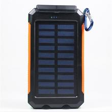 Solar Charger Waterproof battery 20000mAh External portable power solar power bank and plug-in for Smartphone with LED Light