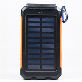 Zonnelader Waterdichte batterij 20000 mAh Externe draagbare power zonne-energie bank en plug-in voor Smartphone met LED licht