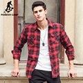 Pioneer camp nueva camisa casual hombres de la marca camisa casual masculina de calidad superior 100% de algodón de manga larga otoño primavera camisas de los hombres 677160