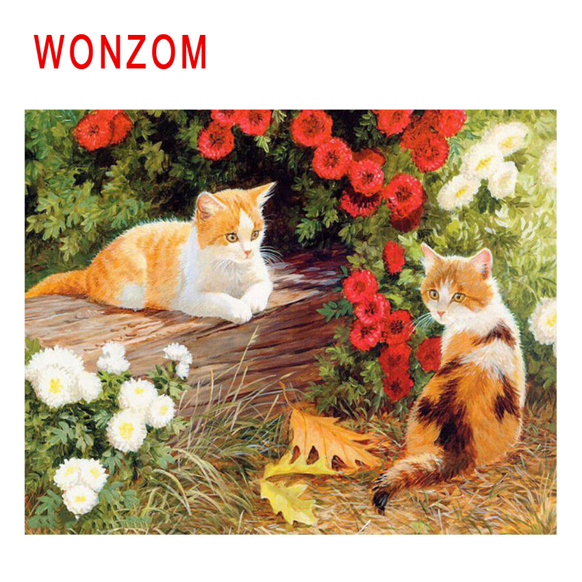 WONZOM Cat Flower Diy Painting By Numbers Animal Oil Painting Cuadros Decoracion Acrylic Paint On Canvas Modern Wall Art Decor in Painting Calligraphy from Home Garden