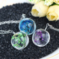 OBSEDE 4 Color Glass Ball Real Dried Flower Pendant Necklace Glass Dome Time Wish Necklace Leather Chain Jewelry Women Gift2016