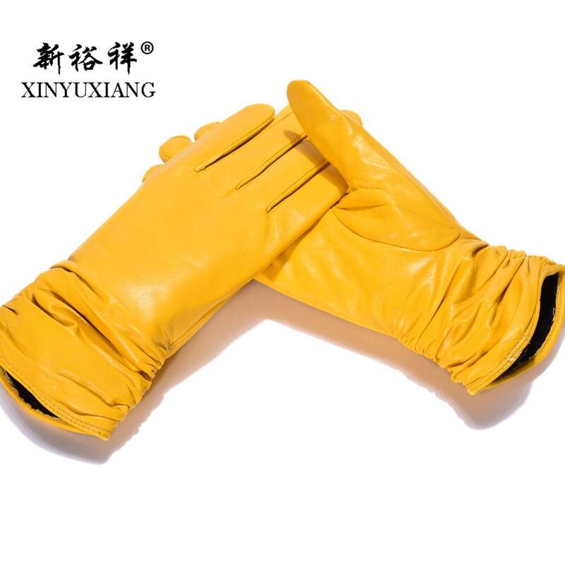 2018 Pleats Genuine Leather Gloves For Women Yellow Blue Color Wrist Short Winter Autumn Warm Female Soft Sheepskin Gloves 1710A
