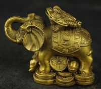 Chinese Brass Wealth Elephants and Toad beautiful Sculpture