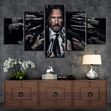 5 Pieces John Wick Poster Painting Wall Art Frame Canvas Pictures Modern HD Printed Wall Art For Living Room Home Decor Artwork(China)