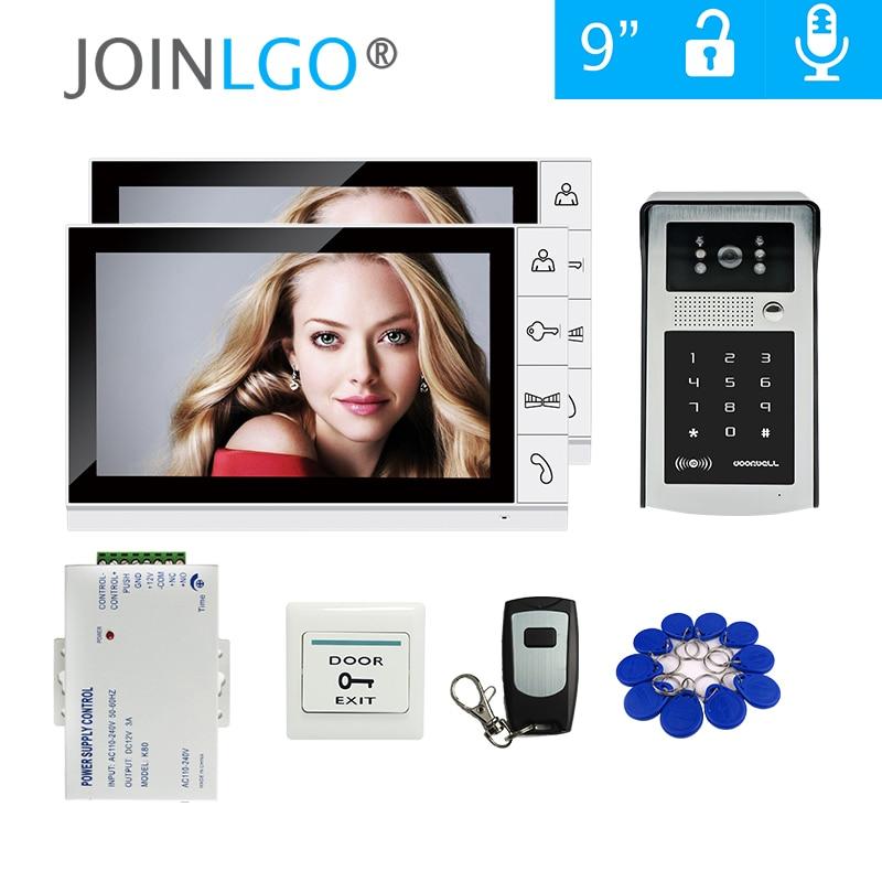 Free Shipping 9 Inch LCD Screen Video Door Phone Video Intercom Kit + Outdoor RFID Code Keypad Number Doorbell Camera 2 Monitors