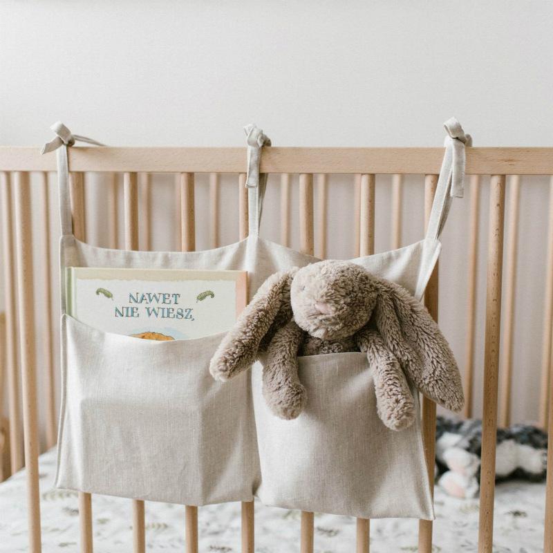 Bed Hanging Diaper Pocket Storage Bag Baby Cot Bed Baby Crib Organizer C