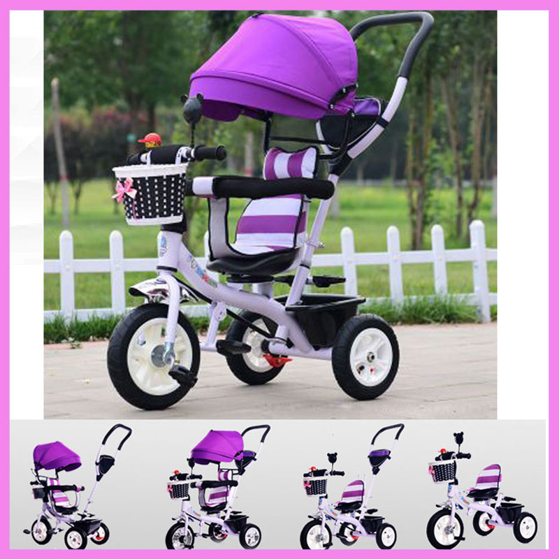 Rotating Seat Children Tricycle Bike Baby Carriage with 3 Wheels Shopping Basket Baby Car Travel System Bicycle Stroller Trike child drift trike 4 wheels walker kids ride on toys for 1 3 years tricycle outdoor driver