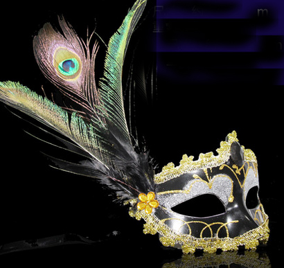 021372  A Halloween party mask peacock feathers masquerade mask princess of Venice adult female half face