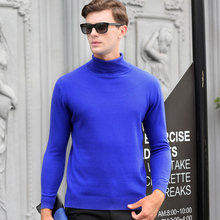 2017 Turtleneck Knitted Slim Fit 100% wool Autumn Winter Warm Luxury Pullover Sweater Men Thick Fashion Casual Male