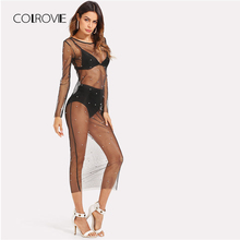 COLROVIE 2018 Spring Pearl Beaded Sheer Mesh Dress Black Round Neck Long Sleeve Sheath Plain Woman Clothes Sexy Dress